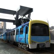 인테리어와 지하철 기차 3d model