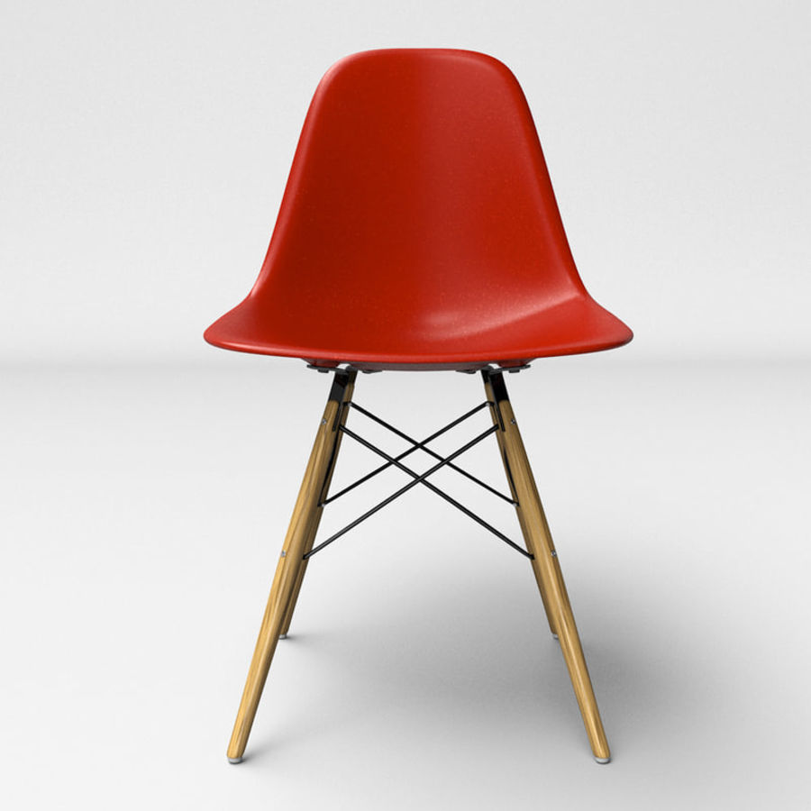Eames Molded Plastic Chair With Wooden Base Royalty Free 3d Model   Preview  No.