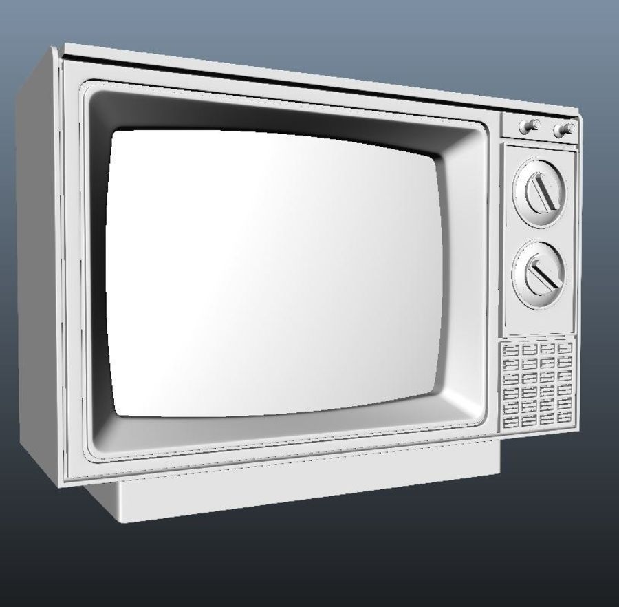 旧テレビ royalty-free 3d model - Preview no. 3