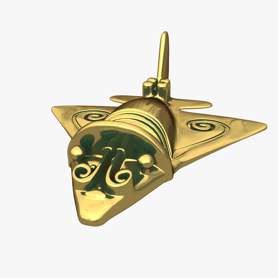 Golden Aircraft Type B royalty-free 3d model - Preview no. 2