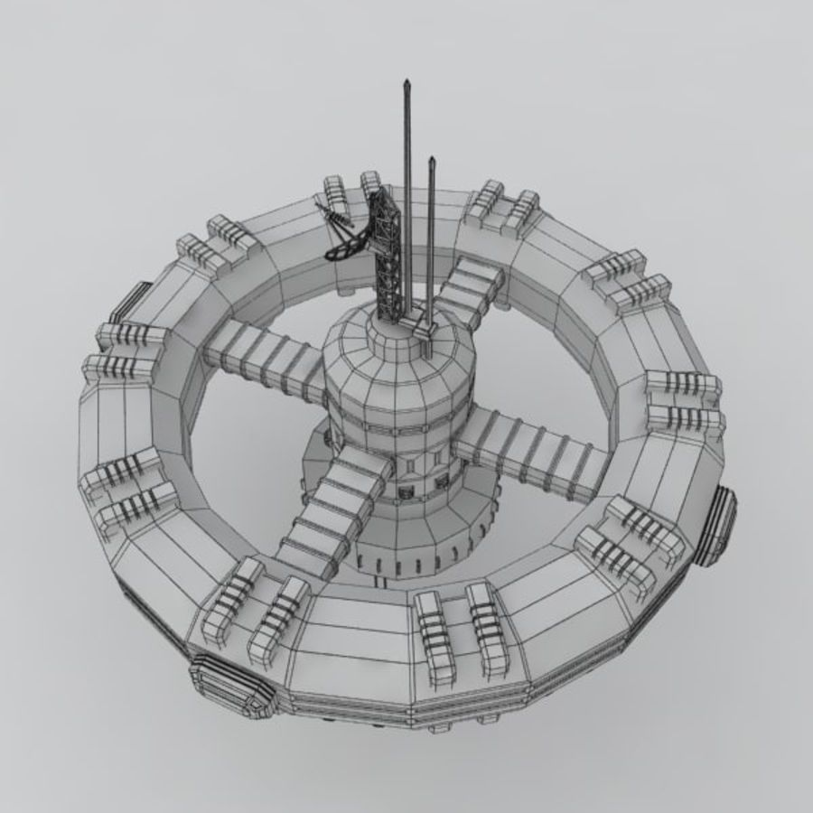 Sci-fi orbital station royalty-free 3d model - Preview no. 4