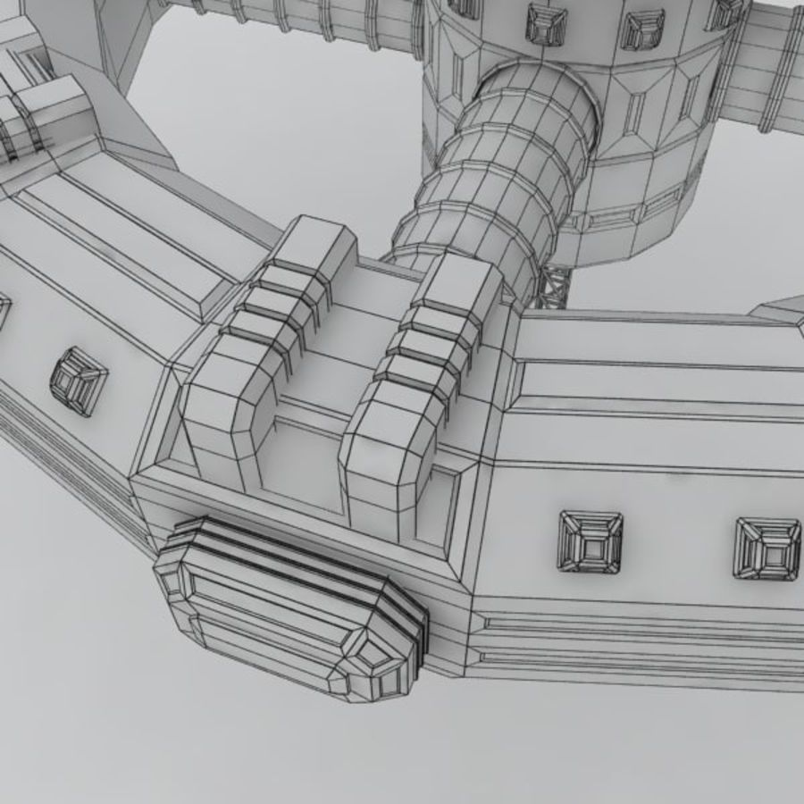 Sci-fi orbital station royalty-free 3d model - Preview no. 5