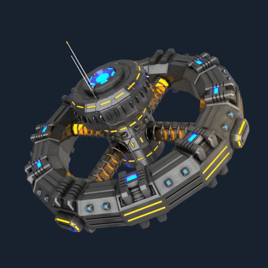 Sci-fi orbital station royalty-free 3d model - Preview no. 1