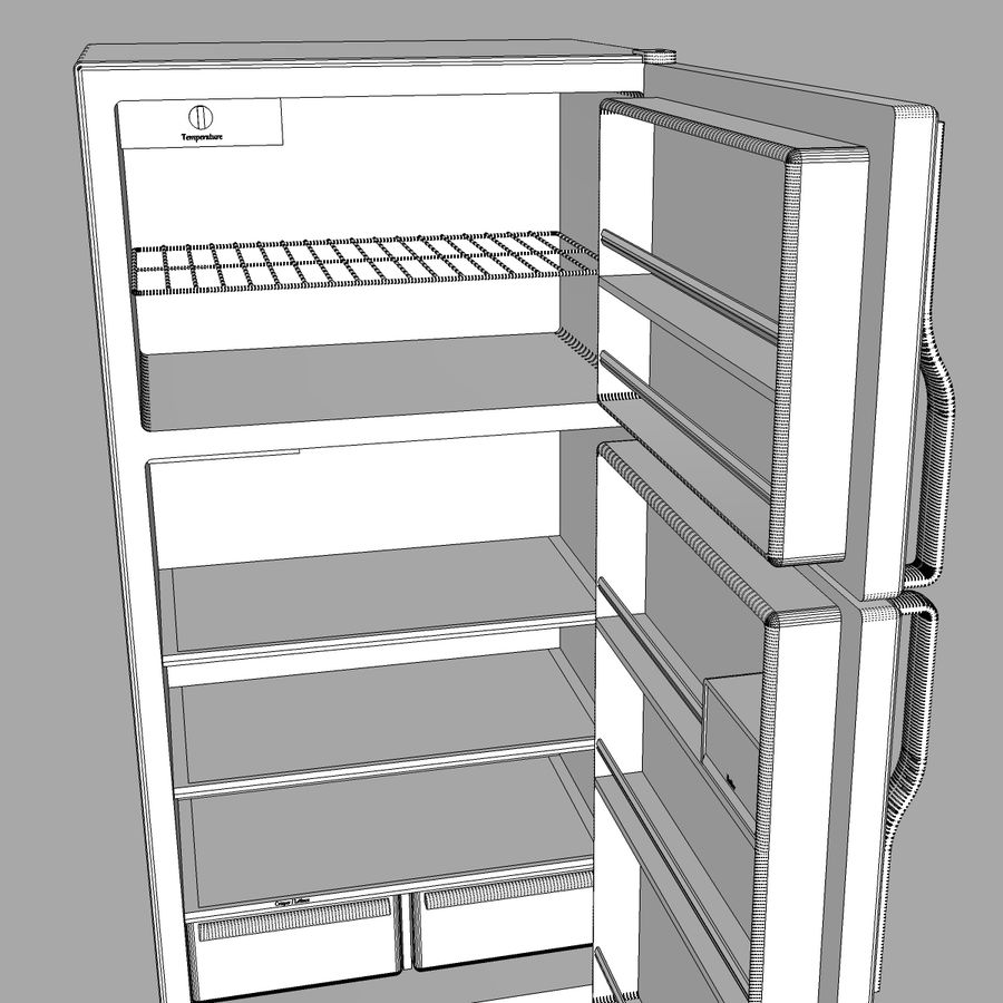 Refrigerator With Opening Doors royalty-free 3d model - Preview no. 28