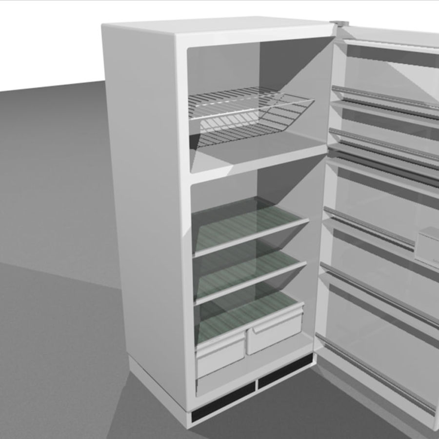 Refrigerator With Opening Doors royalty-free 3d model - Preview no. 1