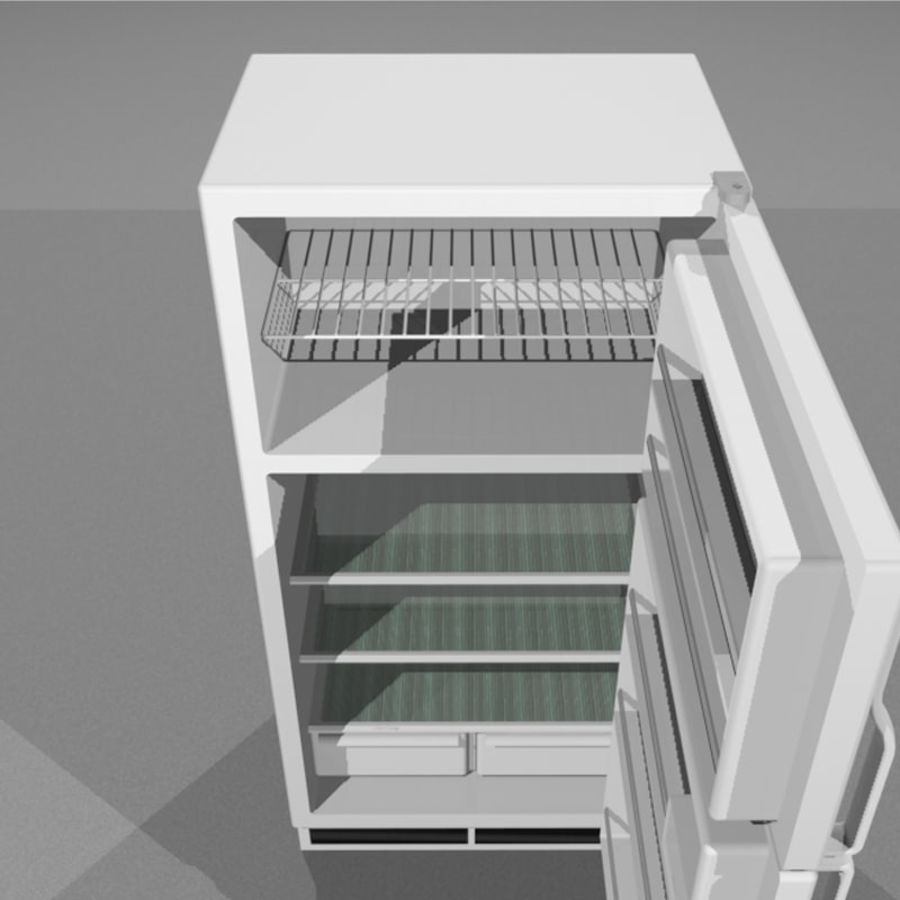 Refrigerator With Opening Doors royalty-free 3d model - Preview no. 8