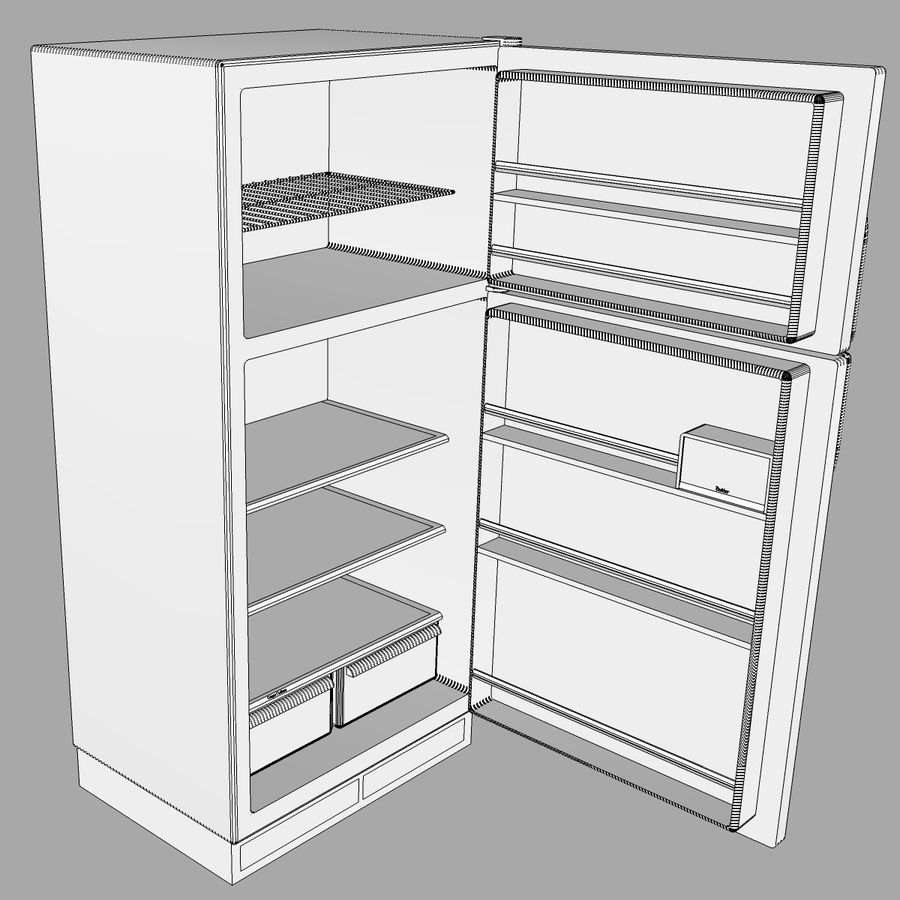Refrigerator With Opening Doors royalty-free 3d model - Preview no. 22