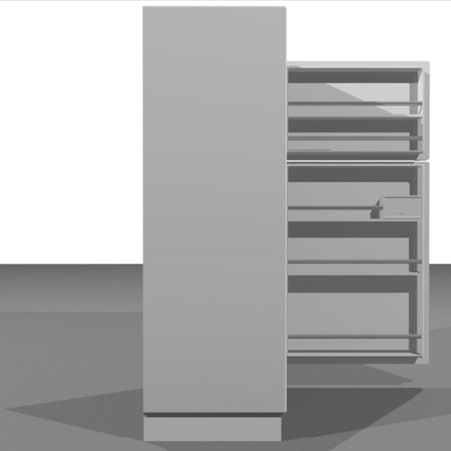 Refrigerator With Opening Doors royalty-free 3d model - Preview no. 5