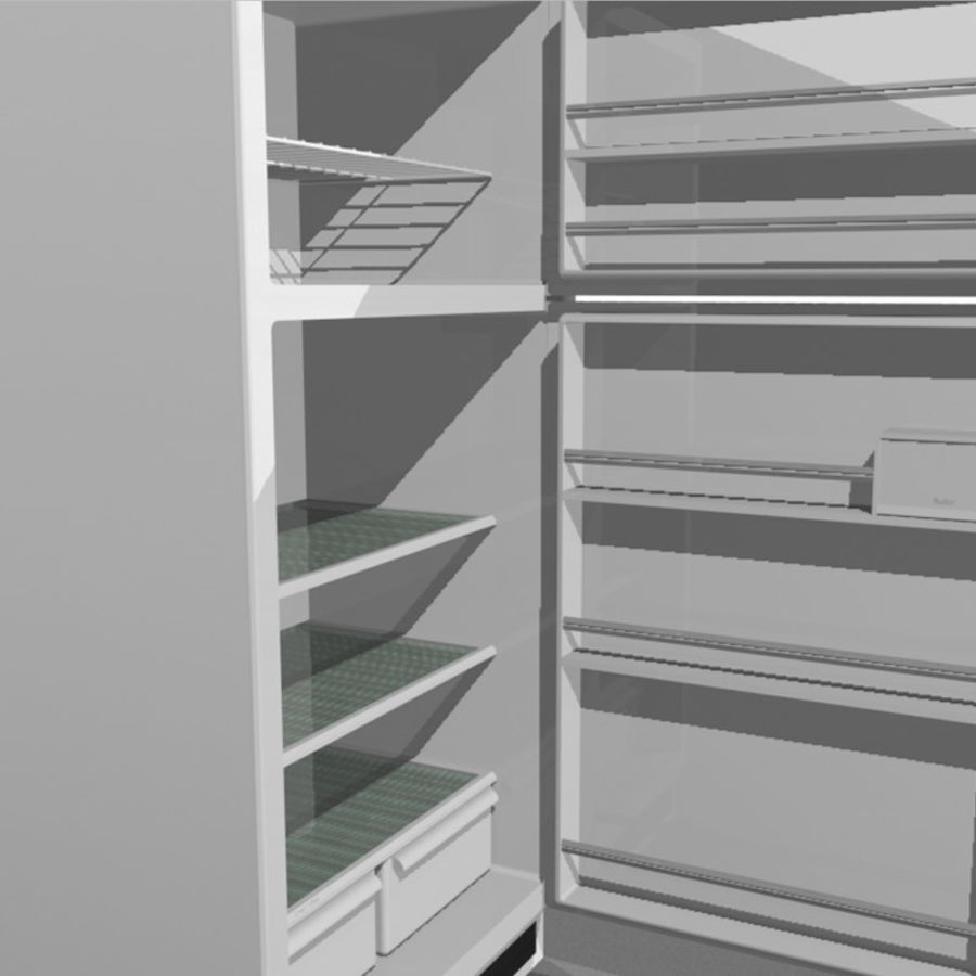 Refrigerator With Opening Doors royalty-free 3d model - Preview no. 13