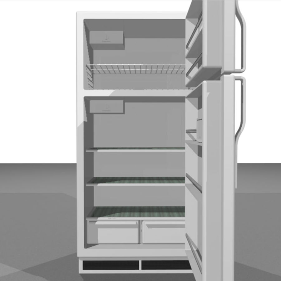Refrigerator With Opening Doors royalty-free 3d model - Preview no. 3