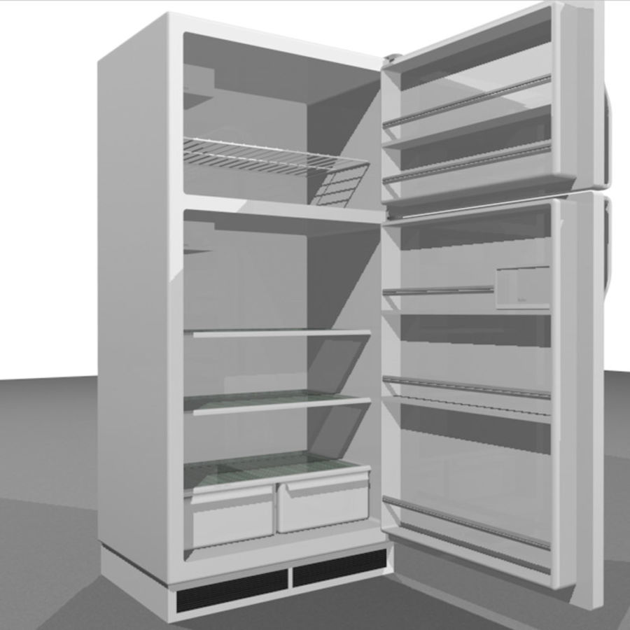 Refrigerator With Opening Doors royalty-free 3d model - Preview no. 10