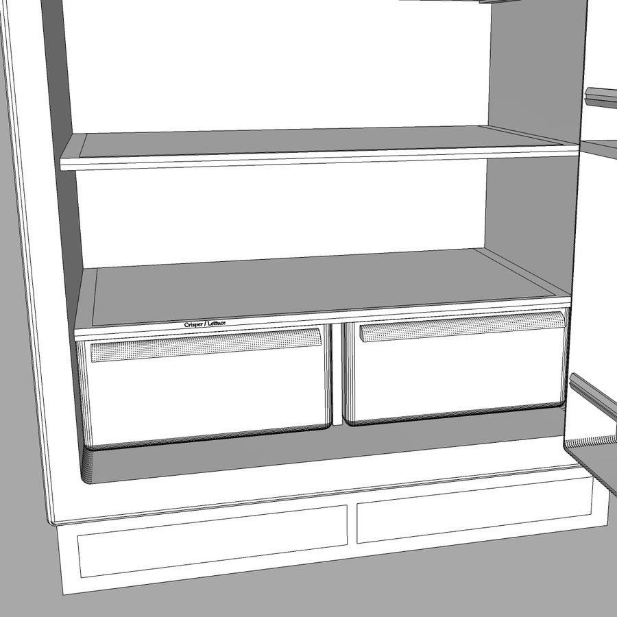 Refrigerator With Opening Doors royalty-free 3d model - Preview no. 26