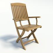Silla de jardín de madera realista modelo 3d