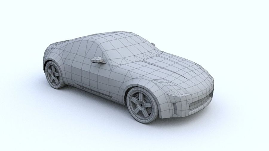 Low Poly Nissan 350Z royalty-free 3d model - Preview no. 2