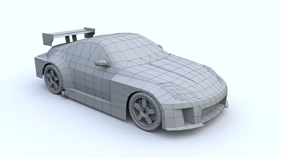 Low Poly Nissan 350Z royalty-free 3d model - Preview no. 5