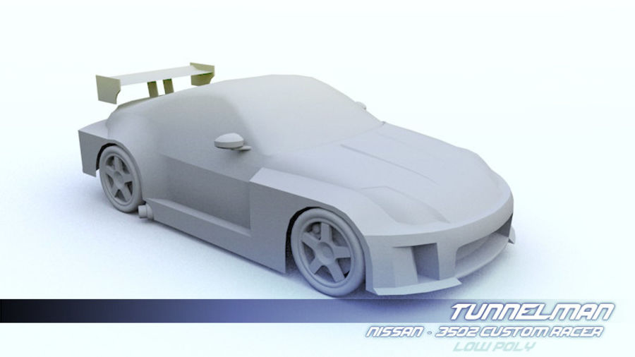 Low Poly Nissan 350Z royalty-free 3d model - Preview no. 4