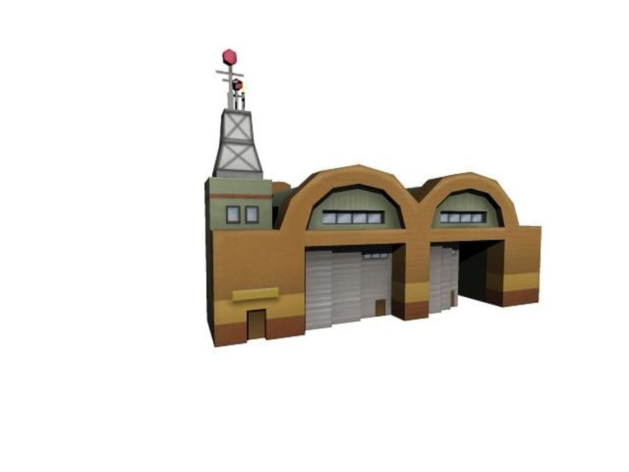 Hangar aereo low poly royalty-free 3d model - Preview no. 8