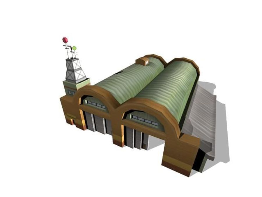 Hangar aereo low poly royalty-free 3d model - Preview no. 9
