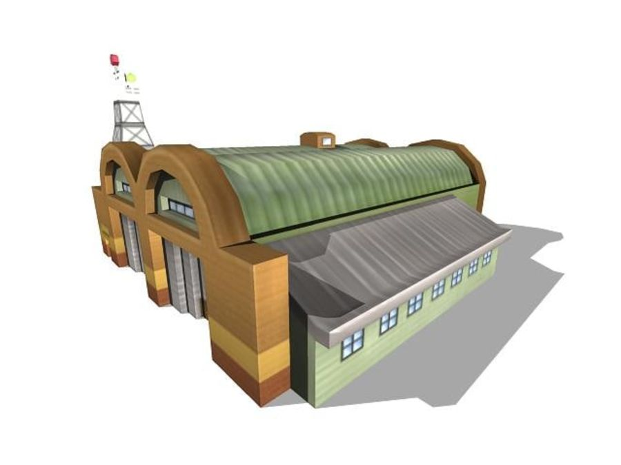 Hangar aereo low poly royalty-free 3d model - Preview no. 11