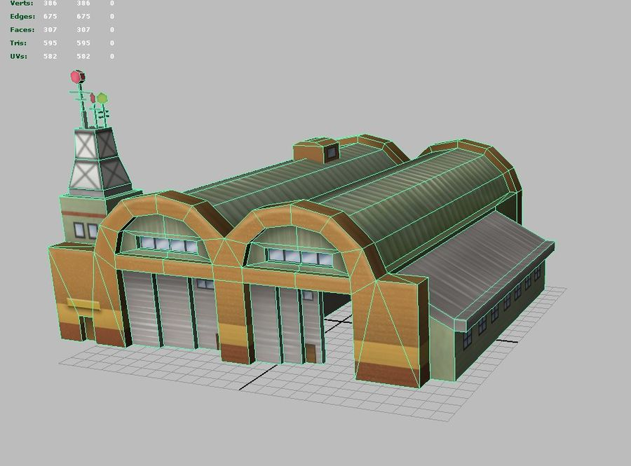 Hangar aereo low poly royalty-free 3d model - Preview no. 4