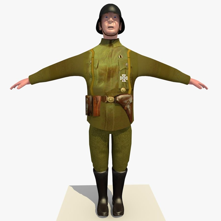 Low Poly WW1 German Lieutenant Soldier royalty-free 3d model - Preview no. 1
