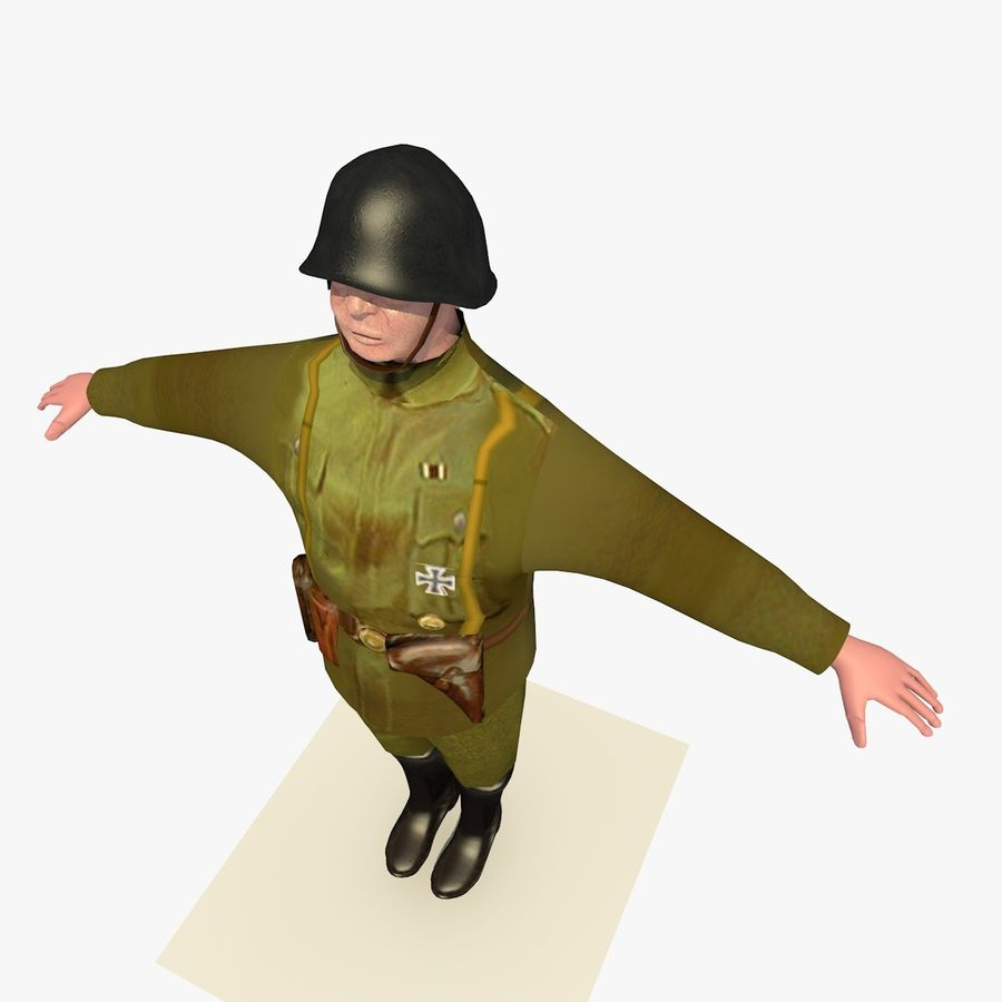 Low Poly WW1 German Lieutenant Soldier royalty-free 3d model - Preview no. 9