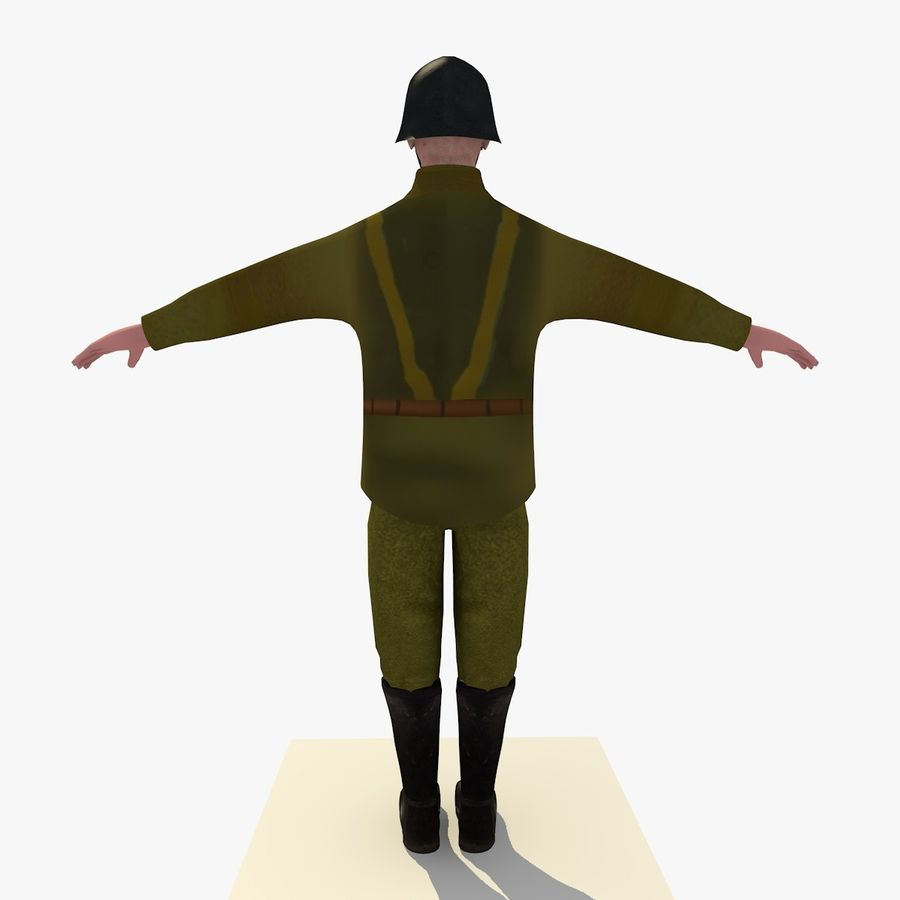Low Poly WW1 German Lieutenant Soldier royalty-free 3d model - Preview no. 4