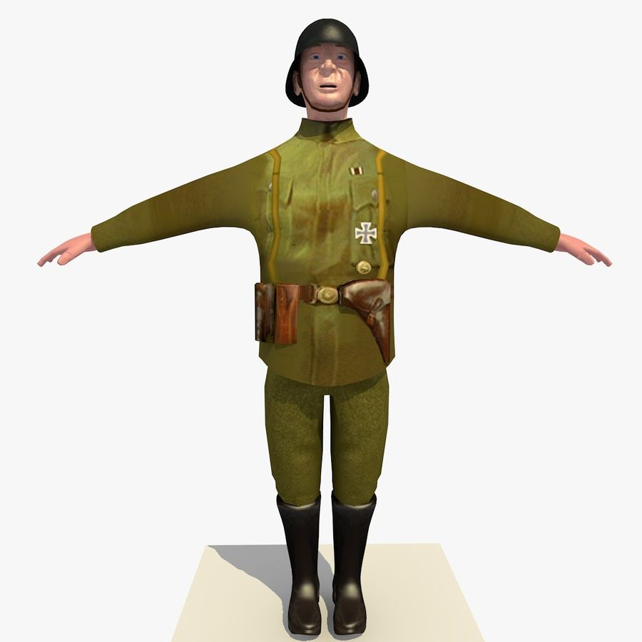 Low Poly WW1 German Lieutenant Soldier royalty-free 3d model - Preview no. 7
