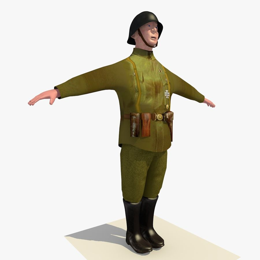 Low Poly WW1 German Lieutenant Soldier royalty-free 3d model - Preview no. 6