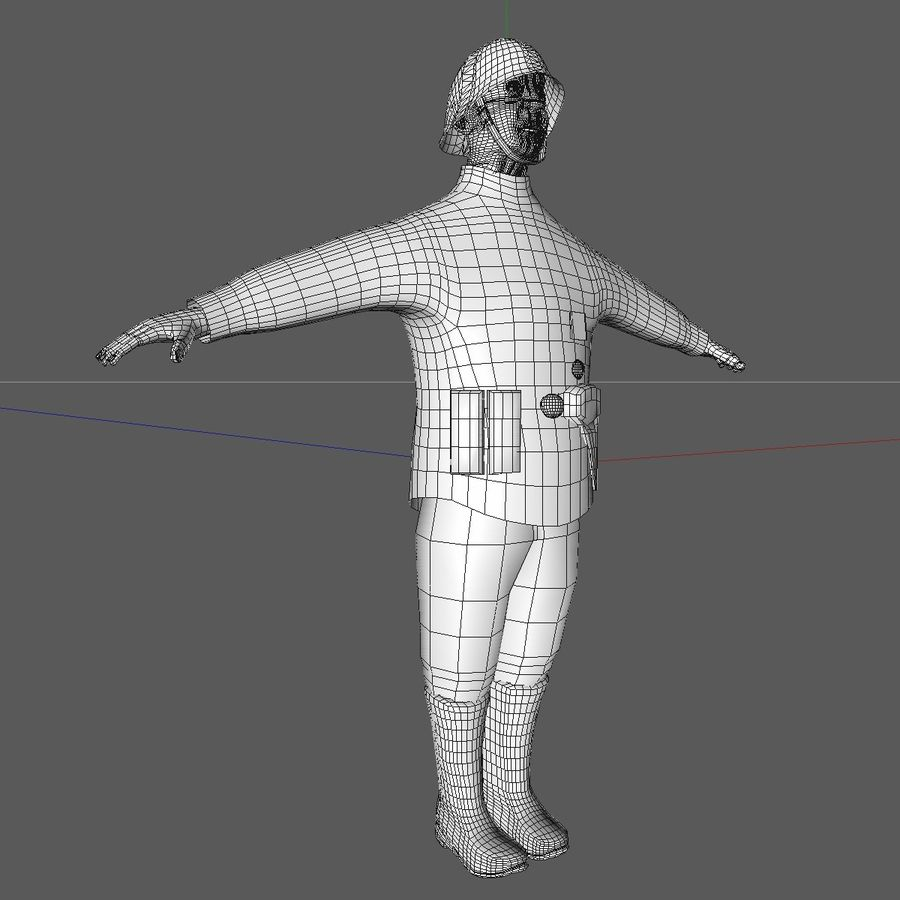 Low Poly WW1 German Lieutenant Soldier royalty-free 3d model - Preview no. 16