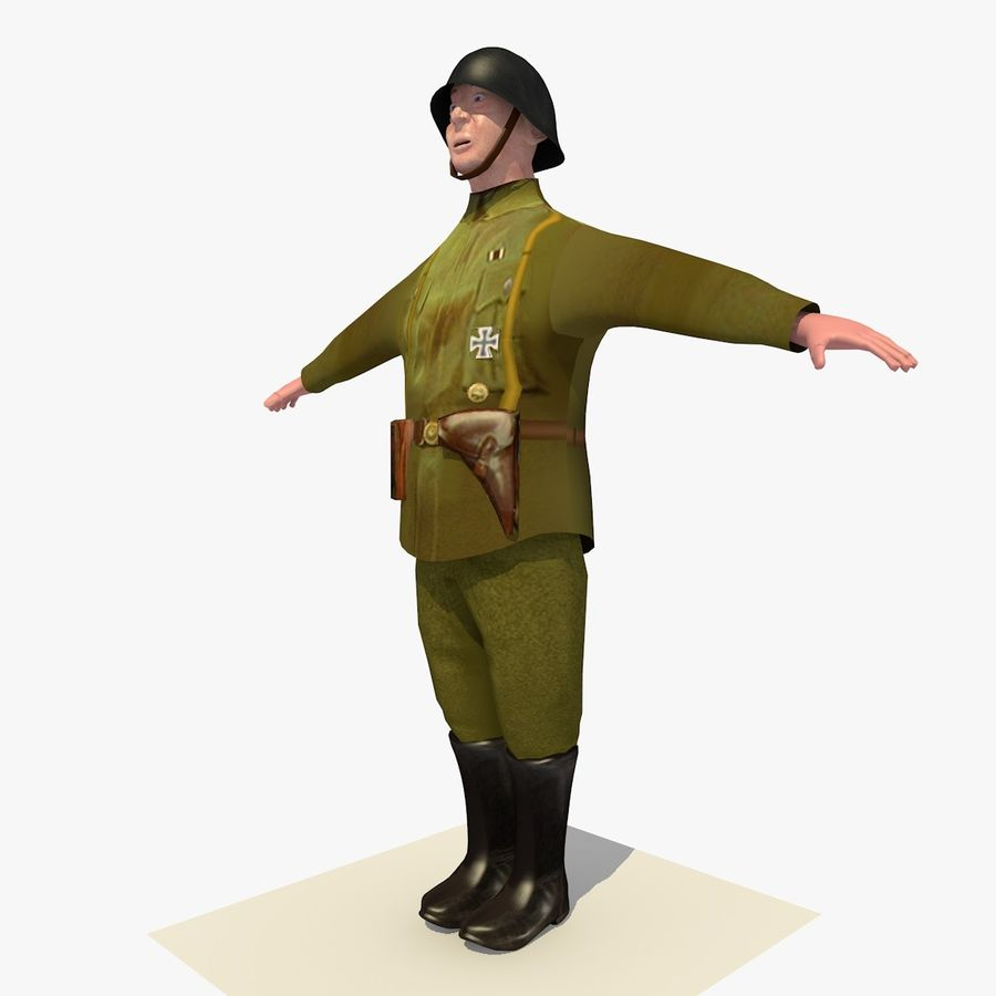 Low Poly WW1 German Lieutenant Soldier royalty-free 3d model - Preview no. 2