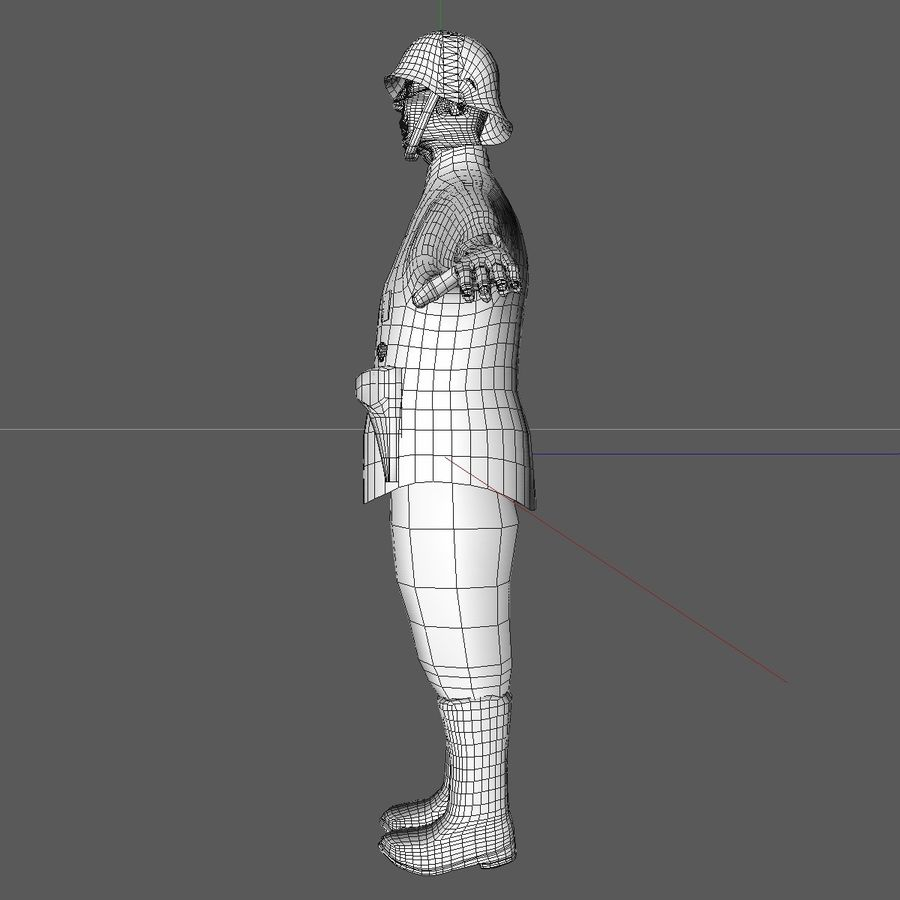 Low Poly WW1 German Lieutenant Soldier royalty-free 3d model - Preview no. 13