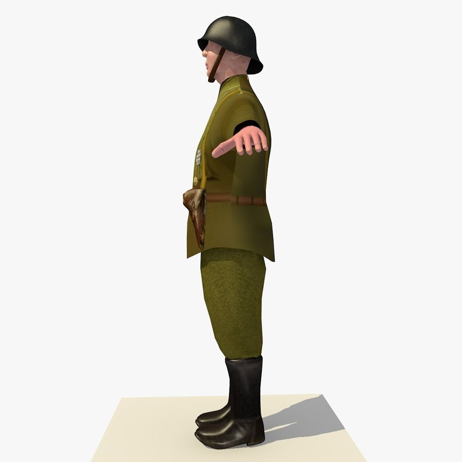 Low Poly WW1 German Lieutenant Soldier royalty-free 3d model - Preview no. 3