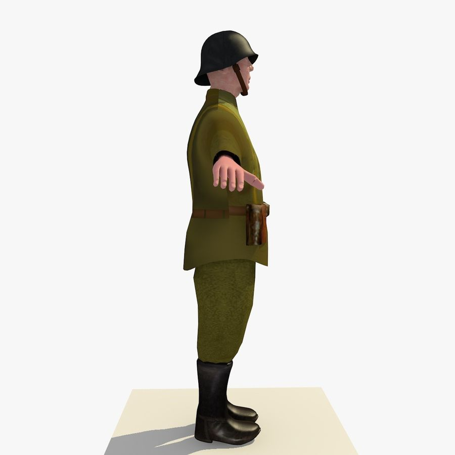 Low Poly WW1 German Lieutenant Soldier royalty-free 3d model - Preview no. 5