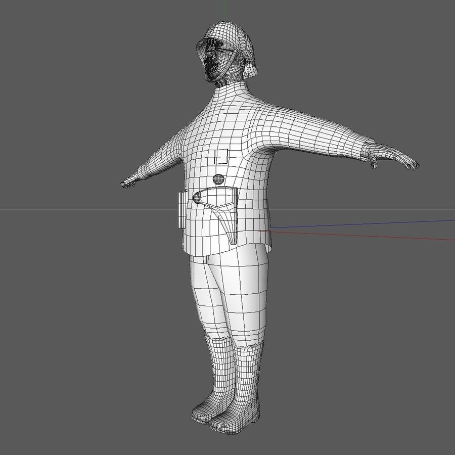 Low Poly WW1 German Lieutenant Soldier royalty-free 3d model - Preview no. 12