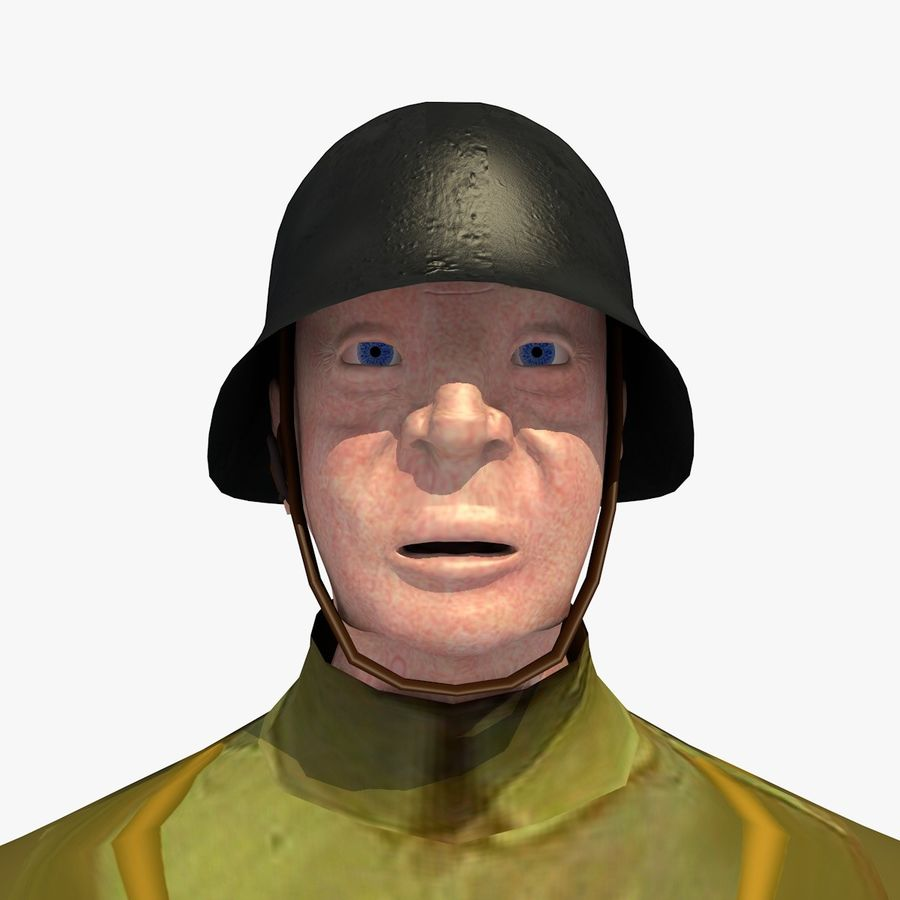 Low Poly WW1 German Lieutenant Soldier royalty-free 3d model - Preview no. 10