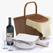Picnic Basket with Wine Bottle and Glasses 3d model