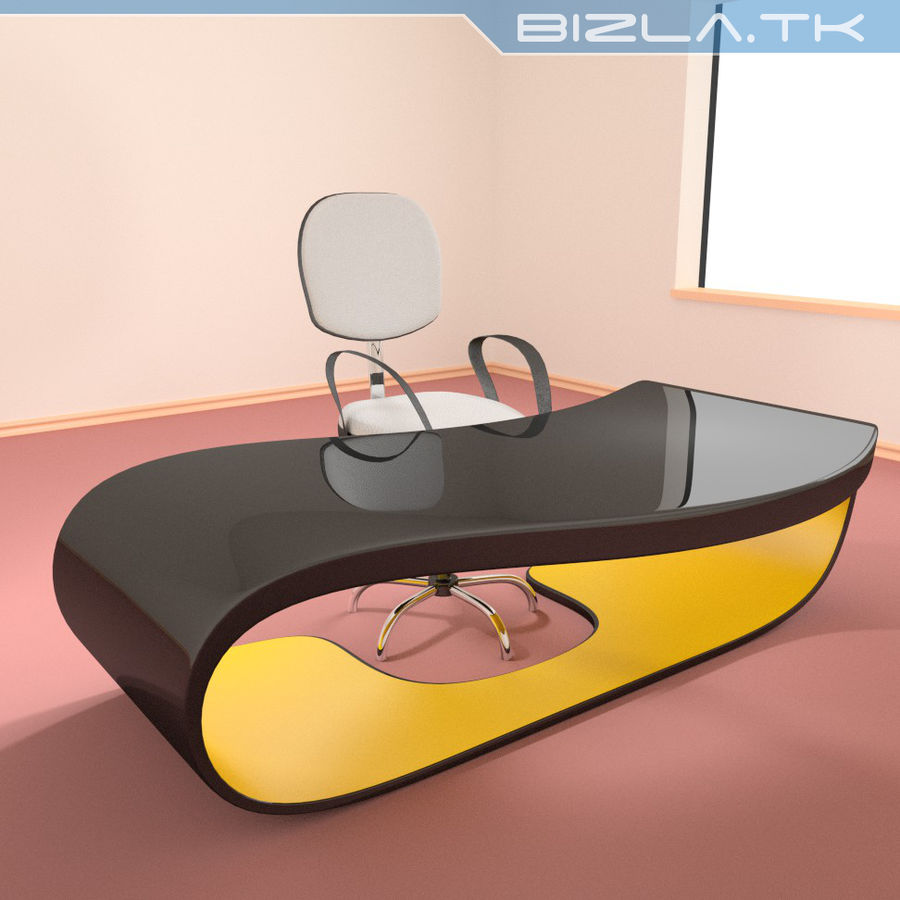 Escritorio y silla de oficina contemporáneos royalty-free modelo 3d - Preview no. 1