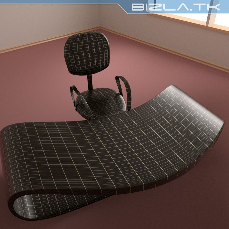 Escritorio y silla de oficina contemporáneos royalty-free modelo 3d - Preview no. 5