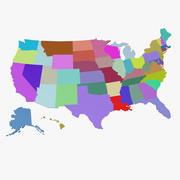 Mapa 3D de Estados Unidos modelo 3d