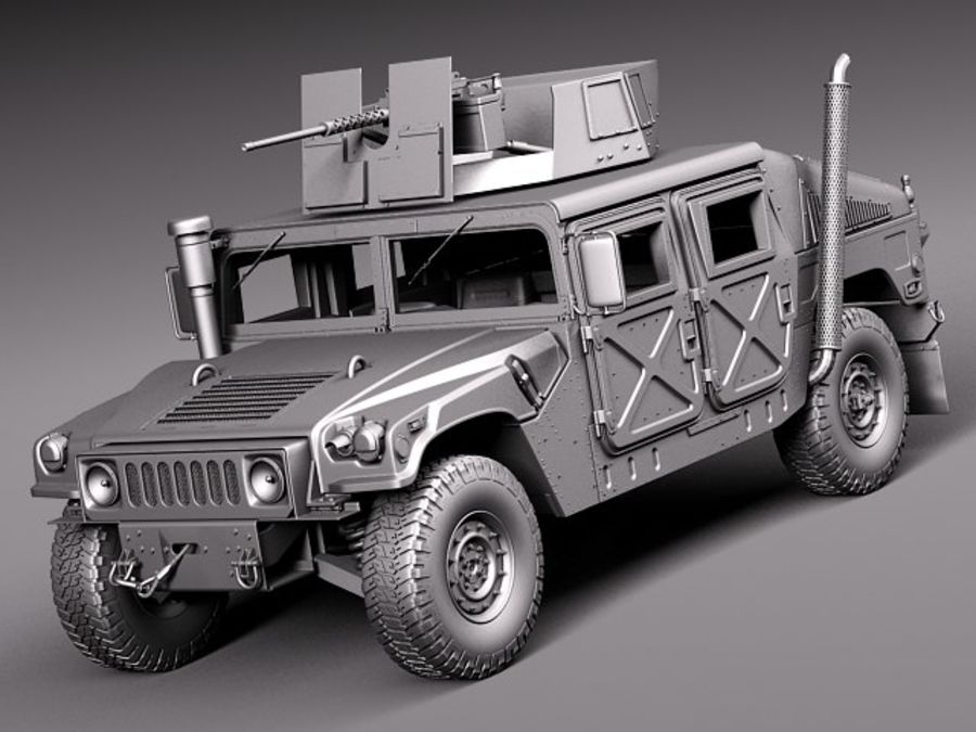 HMMWV Humvee Hummer Military Vechicle royalty-free 3d model - Preview no. 15