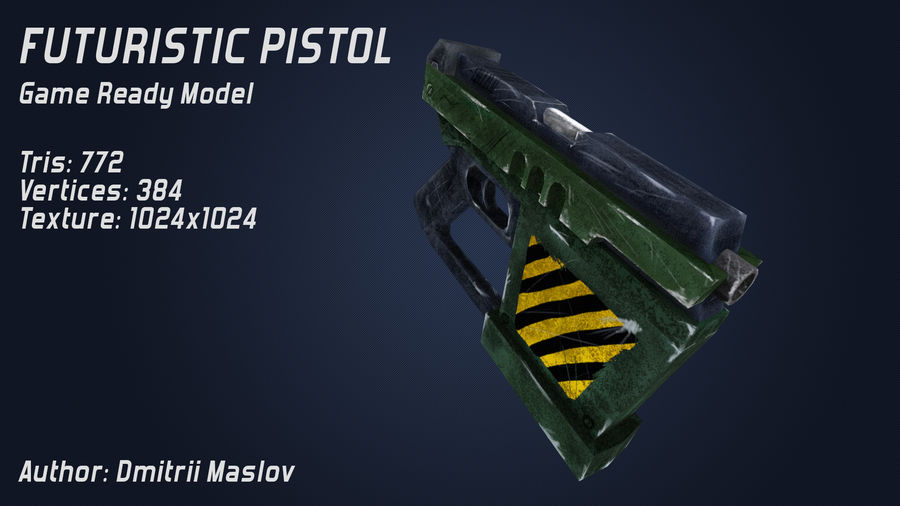 Futurystyczny pistolet royalty-free 3d model - Preview no. 5