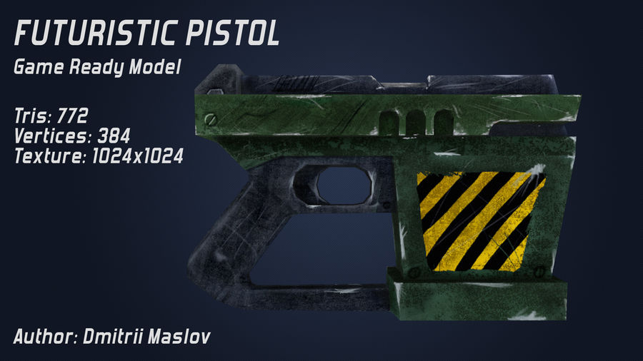 Futurystyczny pistolet royalty-free 3d model - Preview no. 4