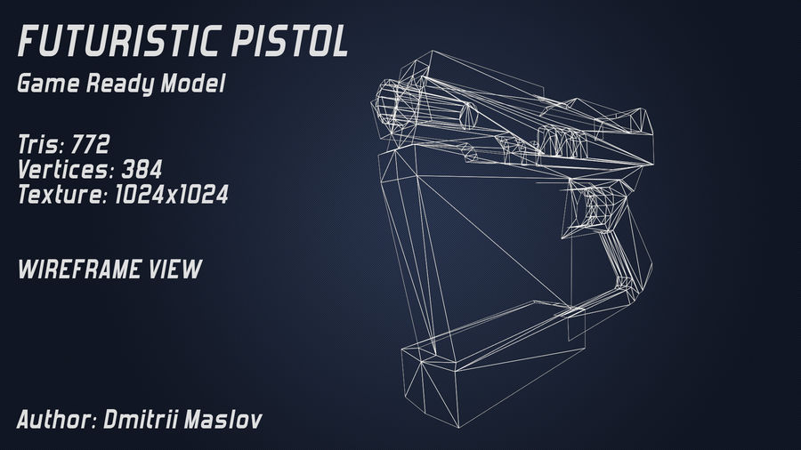 Futurystyczny pistolet royalty-free 3d model - Preview no. 6
