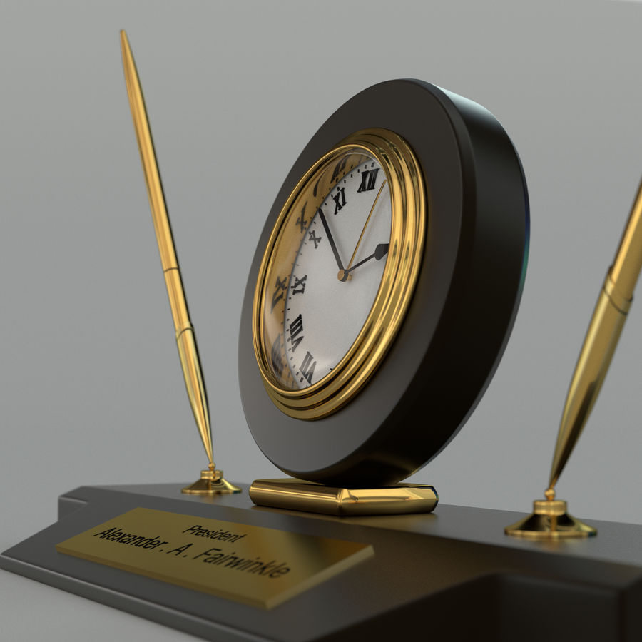 Desk clock royalty-free 3d model - Preview no. 4