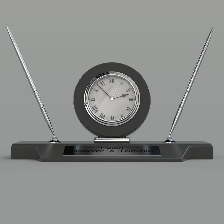 Desk clock royalty-free 3d model - Preview no. 5