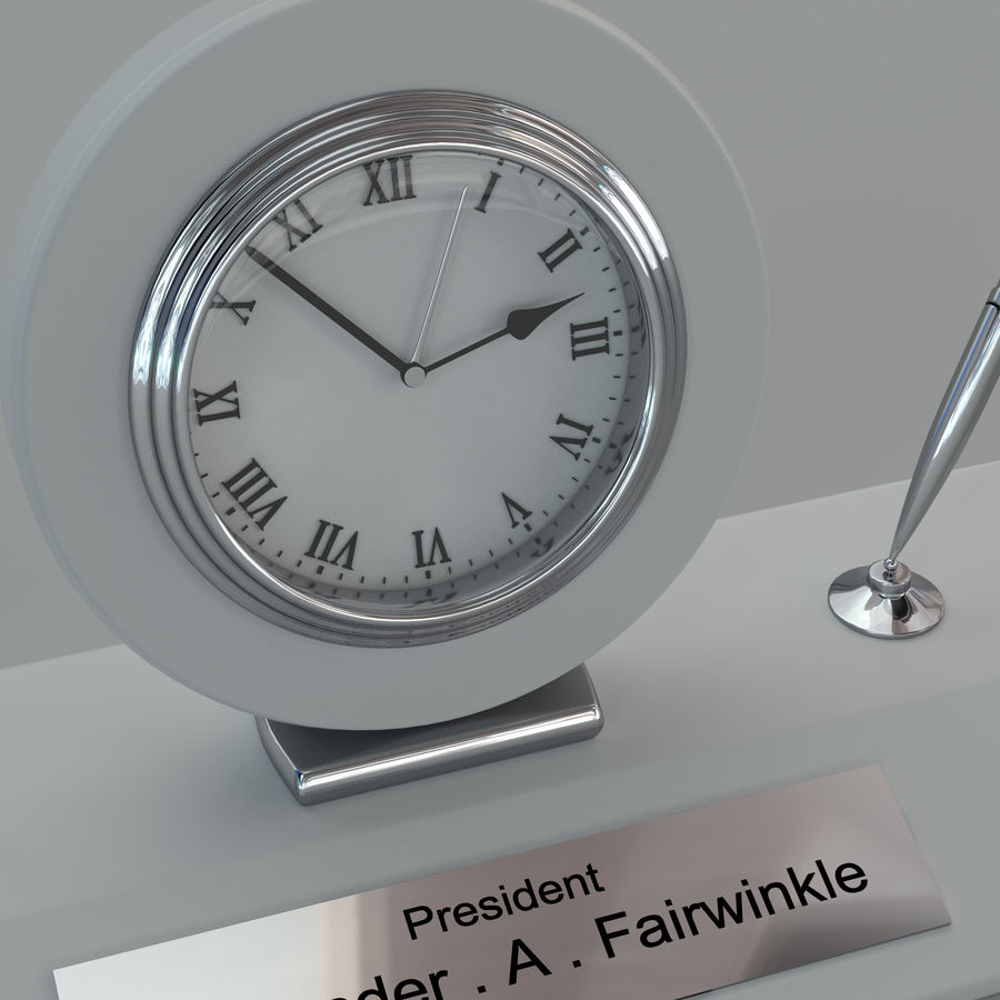 Desk clock royalty-free 3d model - Preview no. 2