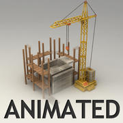 Animated tower crane model with constrution place 3d model