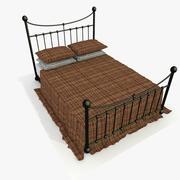 Metal Bed 2 Red/Brown Fabric 3d model