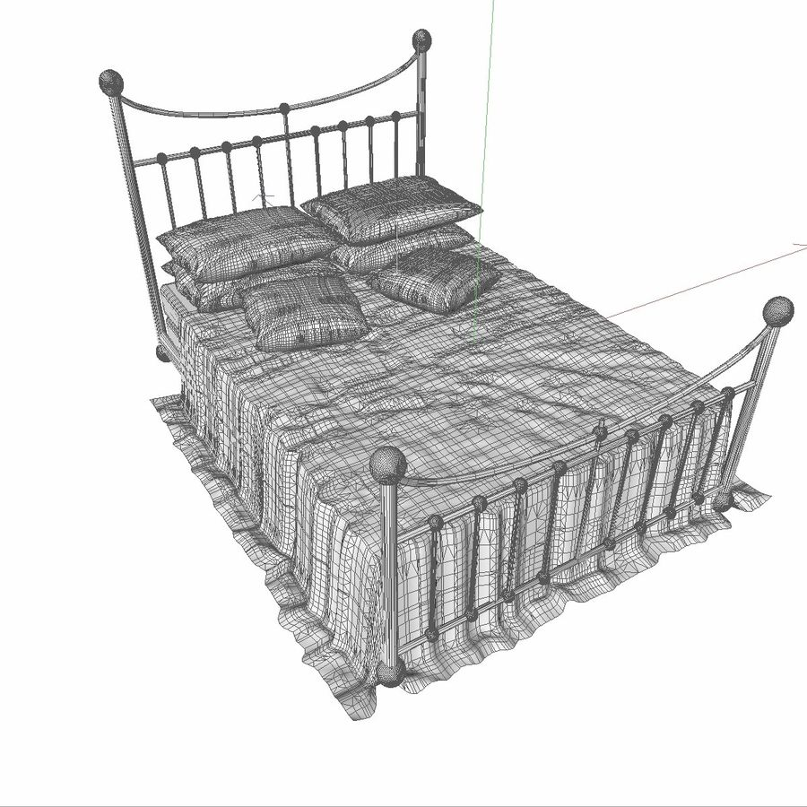 Metal Bed 2 White Sheet royalty-free 3d model - Preview no. 11